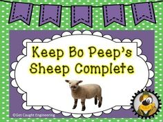 """No time for an in depth engineering lesson? Our Engineering Energizers are just the ticket for a quick STEM lesson that provides a challenge and a brain push up in a short amount of time with just a few materials. An easy way to infuse engineering into your day! """"Keep Bo Peep Sheep's Complete!"""" asks students to build a square pen for Little Bo Peep's sheep and is a great introduction of engineering to preschoolers, kindergartners, and primary students."""