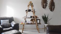 DIY Ladder Shelf   Modify for next to chair and couch???
