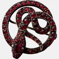 Antique Victorian Garnet Snake Brooch #AntiqueJewelry