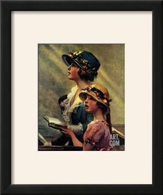 Mother and Daughter Singing in Church Giclee Print by Norman Rockwell at Art.com