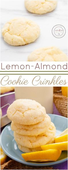 Lemon and Almond Cookie Crinkles | http://thecookiewriter.com | @thecookiewriter | #cookies | A vegetarian cookie recipe that is perfect during the spring, summer, and winter! So soft and melt-in-your-like in flavour and texture!