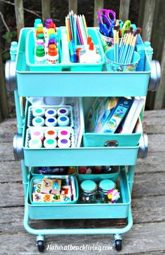 How to set up an art cart for kids stocked with lots of fun art supplies. Perfect for a playroom or art table area!