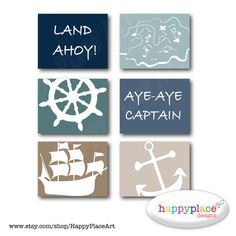 Pirate Wall Art Set of Posters for Boys Bedroom or Nursery. 8x10 or 11x14in Instant Download digital files-Colour 7 on Etsy, $12.00