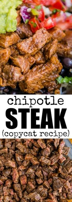 This copycat Chipotle Steak recipe tastes just like the real deal! You'll ha… This copycat Chipotle Steak recipe tastes just like the real deal! You'll have 2 cups of marinade, enough for 10 pounds of steak. Freeze half for later! via Culinary Hill Chipotle Steak Recipes, Skirt Steak Recipes, Meat Recipes, Mexican Food Recipes, Cooking Recipes, Healthy Recipes, Chipotle Restaurant Recipes, Copy Cat Restaurant Recipes, Chipotle Burrito