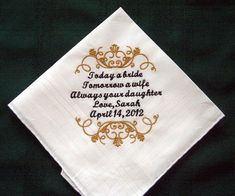 Personalized Wedding Handkerchief for Father of the Bride 126S with Gift Box includes shipping in the US on Etsy, $27.57 AUD