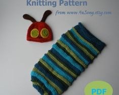 Caterpillar Baby Cocoon and Hat Knitting Pattern in by 4aSong