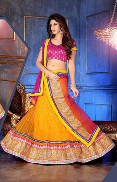 Discover our latest collection of party wear lehenga choli, stone studded lengha choli for party from India. We deliver lehenga for party worldwide including USA, UK, Canada, Australia and France. Bollywood Lehenga, Net Lehenga, Lehenga Choli Online, Indian Sarees Online, Bridal Lehenga Choli, Indian Wedding Lehenga, Indian Wedding Outfits, Orange Lehenga, Lehenga Designs