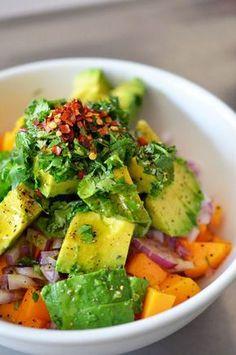 Mango + Avocado Salsa on Pan-Seared Salmon by Nom Nom Paleo Fish Recipes, Seafood Recipes, Paleo Recipes, Cooking Recipes, Skinny Recipes, Cooking Tips, Mango Avocado Salsa, Avocado Salat, Fruit Salsa