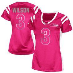 Women's Nike Seattle Seahawks #3 Russell Wilson Elite Pink Draft Him Shimmer NFL Jersey