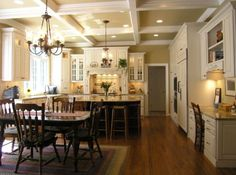 Traditional Kitchen - I like the floors, white cabinetry and wall color.