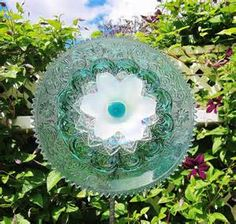 Image detail for -Plate flower with glass bottle back