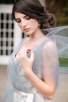 vintage dusty blue tulle wedding dress