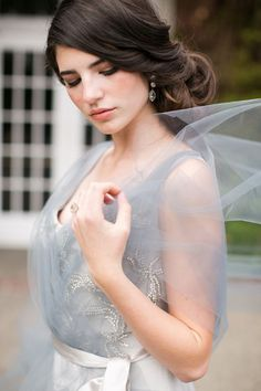 vintage dusty blue tulle wedding dress