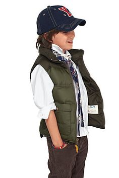 boy 5 pocket cords, puffer vest button up