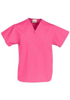 This shirt is all about being practical with its left chest pocket and fuller body length. Featured here in Shocking Pink.