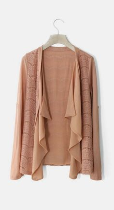 Coral Open Cardigan with Ruffled Chiffon Panel