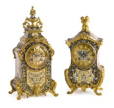 ♔ A SET OF TWO GILT BRONZE MOUNTED CLOISONNÉ ENAMEL CLOCKS FRANCE, LATE 19TH CENTURY ONE MOVEMENT IMPRESSED WITH THE VINCENTI PASTILLE, THE OTHER C.R.    https://www.pinterest.com/moonshooter1