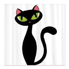 Junky Dot Com Store: Black Elegant Cat Shower Curtain: Black elegant cat illustration Pach Aplique, Cat Shower Curtain, Cat Template, Paris Wallpaper, Cat Vector, Cat Necklace, Cat Drawing, Retro Art, Cat Tattoo