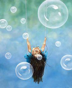 """Upsidedown Bubbles"" Oil on canvas 120x150cm. Avihai cohen Art אביחי כהן"