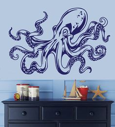 For Tom: Octopus Kraken Tentacle Wall Decal 22H x 33W by Stickitthere, $35.00
