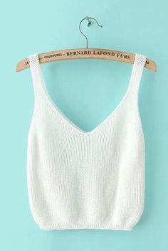 White Sleeveless Knit Top
