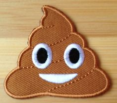 Happy Poo Patch Embroidered Iron on Badge Ice Cream Poop Crap Turd Applique Motif DIY Customize Bag Hat T-Shirt Collectible Text Emoji * Check this awesome item by going to the link at the image.