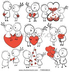 collection cartoon figure lovers in different poses with red heart, stick man. Set of doodle happy cute couple with love valentine hearts. Valentine Cookies, Love Valentines, Valentine Hearts, Love Doodles, Simple Doodles, Cute Couple Drawings, Love Drawings, Diy Birthday Gifts For Dad, Stick Figure Drawing