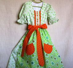 Girls Alpine Summer Dirndl/Dress & Apron Size by EraOfMakeBelieve, $135.00
