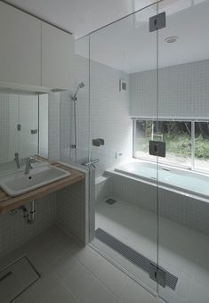 perfect transition for large bath and shower without much space