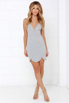 Sexy Grey Dress - Bodycon Dress - Scalloped Dress - $46.00
