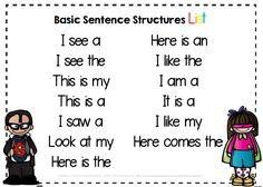 FRee basic sentence starters for Pre-K and Kindergarten - emergent readers and writers free center idea.