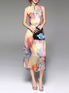 Shop Multicolor Printed Sleeveless A-line Midi Dress With Belt Online. The world's most-coveted and unique  designer apparel - Sexyplus everyday.