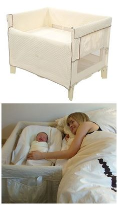 A co-sleeper is a baby bed that attaches to one side of an adult bed. It allows baby to remain close to the parents at night without actually being in the adult bed (which can be dangerous sometime… The Babys, My Baby Girl, Our Baby, Co Sleeper Bassinet, Baby Gadgets, Baby Must Haves, Baby Makes, Everything Baby, Baby Needs