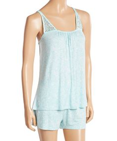 Another great find on #zulily! Light Blue Floral Tempt Me Short Pajama Set #zulilyfinds