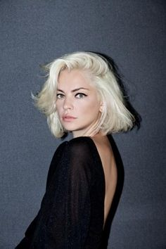 Check out this platinum blonde bob and cool graphic eyeliner.