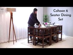 Buy Cohoon 6 Seater Dining Set (Honey Finish) Online in India, Get Wooden Cohoon 6 Seater Dining Set (Honey Finish) Wooden Street
