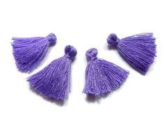 Mini Tassels 5 Pieces Tiny Lavender Purple Tassels  by FoxyBeadsCo