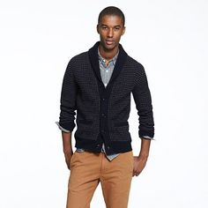 This Winter, dress your man in a cozy lambswool dotted shawl-collar cardigan ($128).