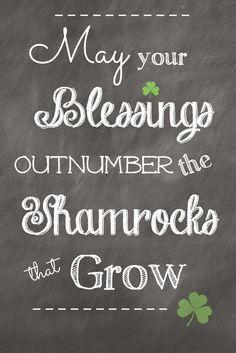 printable, shamrocks, Irish Blessing, Irish, green