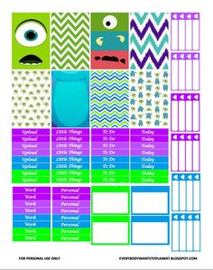 FREE Monsters Inc Planner Stickers : Everybody Wants To Plan 697