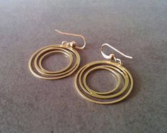Circle Earrings, Gold Earrings, Gold Circle #jewelry #earrings @EtsyMktgTool http://etsy.me/2zOO6CE #goldcircleearrings #circleearrings