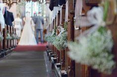 Baby Breath Gyp Gypsophila Church Pew End Flowers Chic White Elegant Country Barn Wedding http://www.silverstarphotographic.co.uk/
