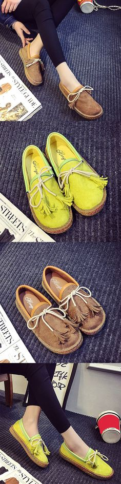 US$14.77  Lace Up Tassel Flat Casual Lazy Shoes Moccasin