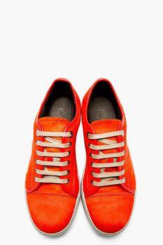 Lanvin Vermillion Calf Hair Sneakers