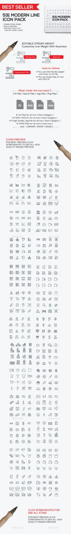 540 Modern Line Icons - Icons