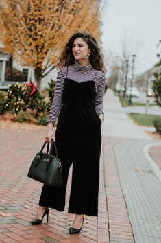 The Tailored Olive- How to Style a velvet jumpsuit, J. Fashion Ideas, Fashion Outfits, Womens Fashion, Velvet Jumpsuit, Jumpsuit Outfit, Fashion Photo, Winter Outfits, Personal Style, J Crew