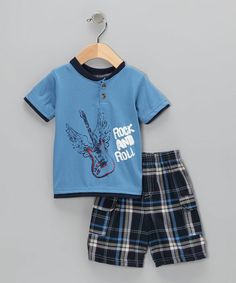 Take a look at this Blue 'Rock & Roll' Tee & Shorts by Coney Isle Baby on #zulily today!   Each t-shirt & short SET only $7.99!