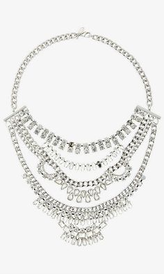 Mixed Rhinestone Bib Necklace