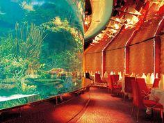 Dubai, United Arab Emirates, Burj Al Arab, Aquarium restaurant closer view Burj Al Arab, Hotel Subaquático, Hotel Dubai, Dubai Uae, Underwater Hotel, Underwater Restaurant, Most Luxurious Hotels, Best Hotels, Amazing Hotels