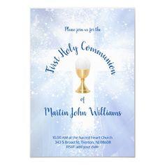 First Holy Communion Catholic boy Invitation   Zazzle.com